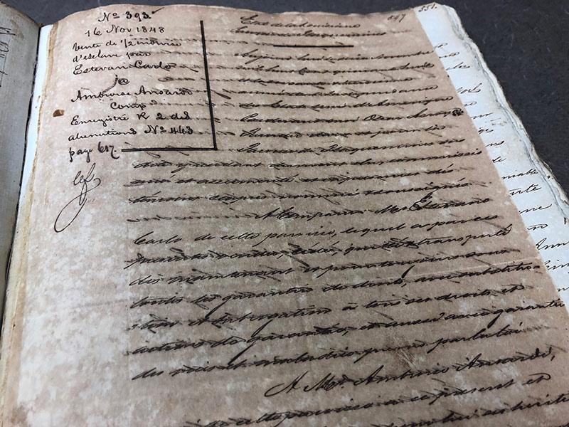 Historic deed written in script